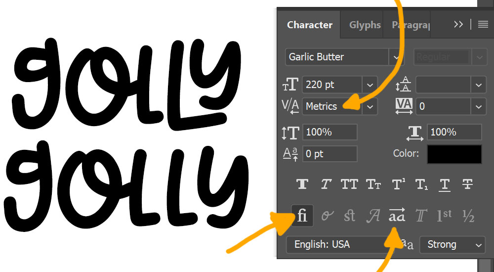 Program Comparison: Photoshop OpenType features