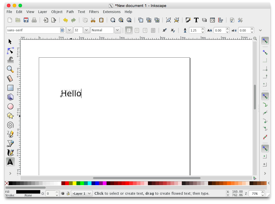 inkscape creating text