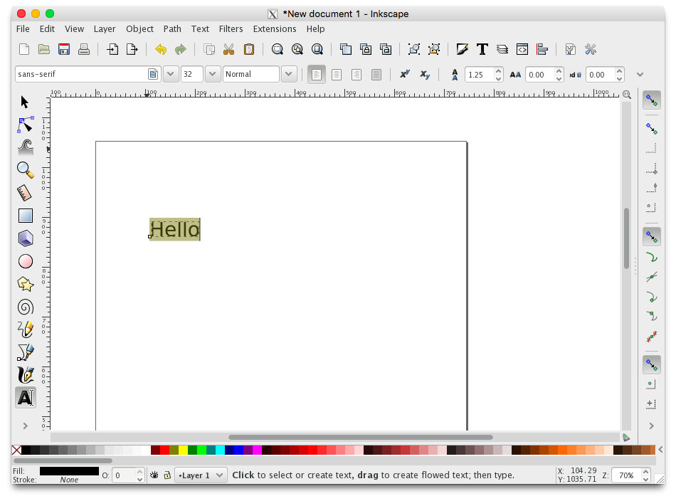inkscape selecting text
